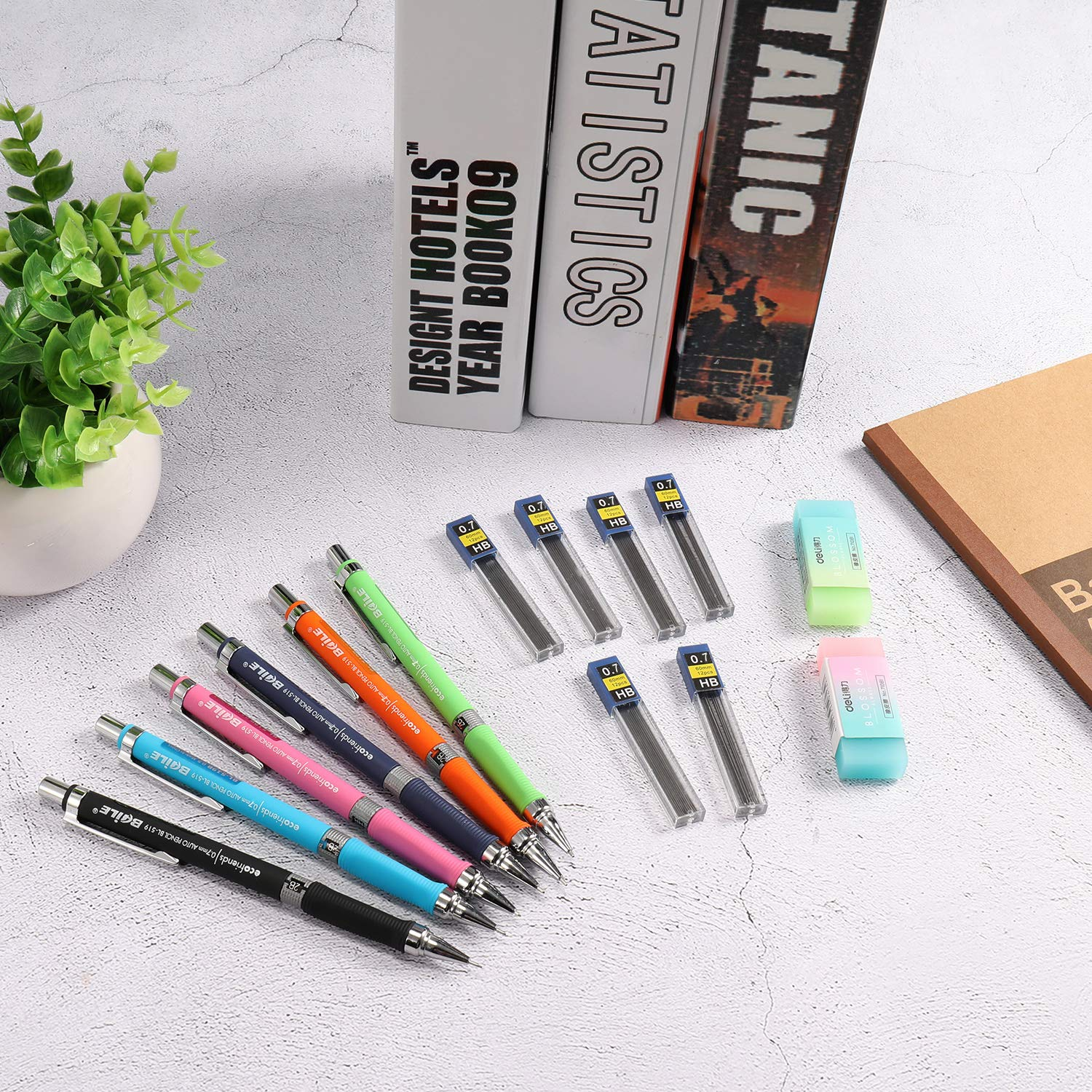 Signature Mechanical Pencil Set Drawing ExcelFu 6 Pieces 0.7 mm Mechanical Pencils with 12 Cases Lead Refills for Writing 6 Colors