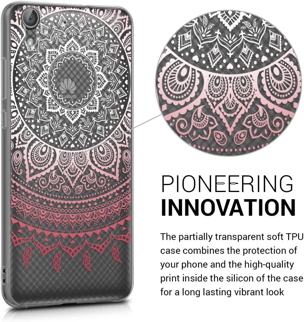 blanco transparente Carcasa de TPU y dise/ño de sol hind/ú en rosa claro kwmobile Funda compatible con Huawei Y6 II