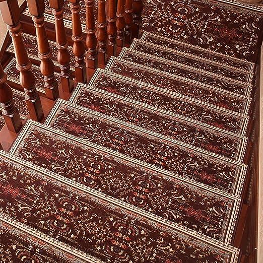 QFFL Práctico tapete Autoadhesivo para escaleras/sin Adhesivo Europeo Pad/ escaleras de Madera Maciza Alfombra Antideslizante (Paquete de 1) Escalera Paso Estera: Amazon.es: Hogar