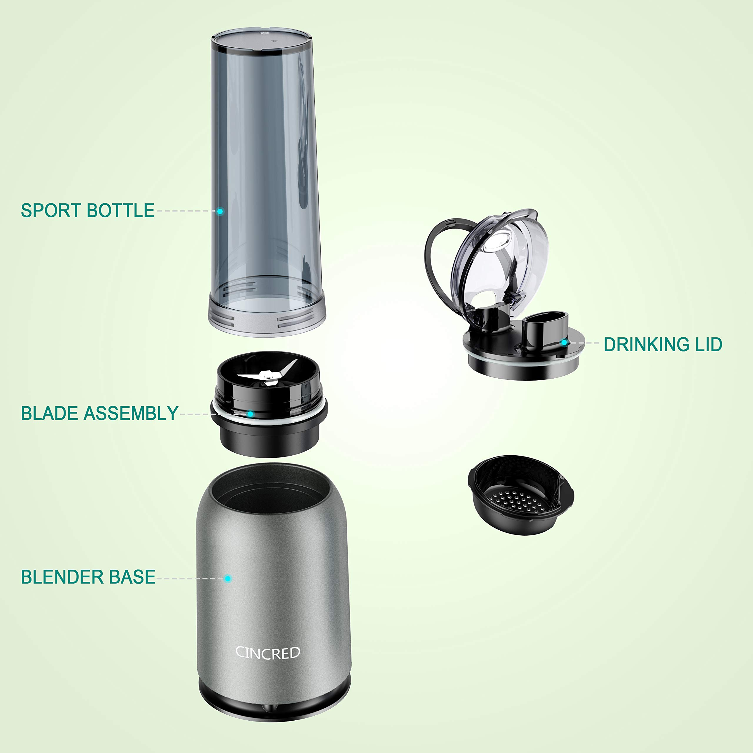 Updated 2019 Version Professional Personal Countertop Blender for Milkshake, Frozen Fruit Vegetables Drinks, Smoothie, Ice, Small Mini Portable Single Food Bullet Blenders Processor Shake Mixer Maker with Cup for Home Kitchen by Cincred (Image #5)