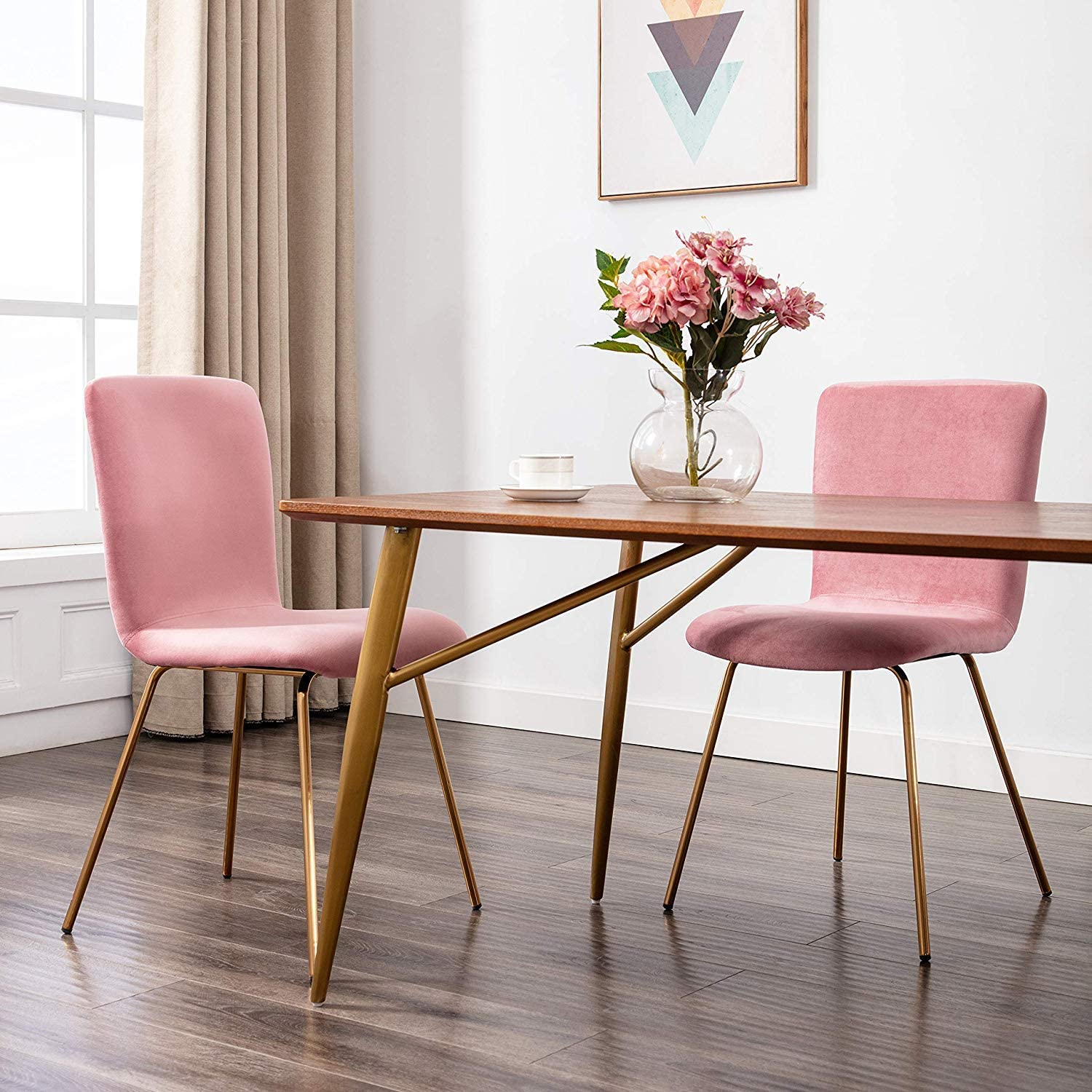 Art-Leon Mid-Century Modern Velvet Fabric Dining Chairs Set of 2 with Golden Legs and Floor Protector (Sakura Pink)