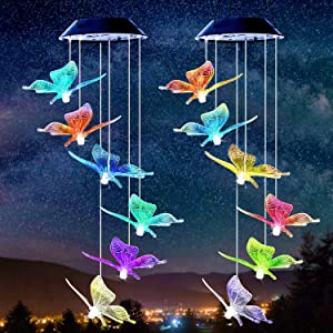 MUAMUAU 2 Pack Solar Wind Chimes-Color Changing LED Wind Chimes Outdoor, Waterproof & Mobile Hanging Wind Chimes with 6 Blue Butterfly Pendants,for Garden, Deck, Patio,Yard&Home
