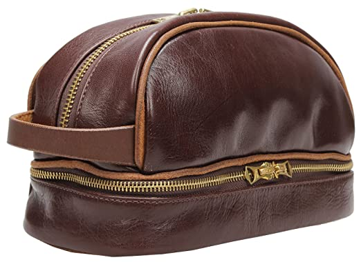 925df4ec498d Image Unavailable. Image not available for. Color  Iblue Mens Leather  Toiletry Bag Shaving Dopp Kit ...