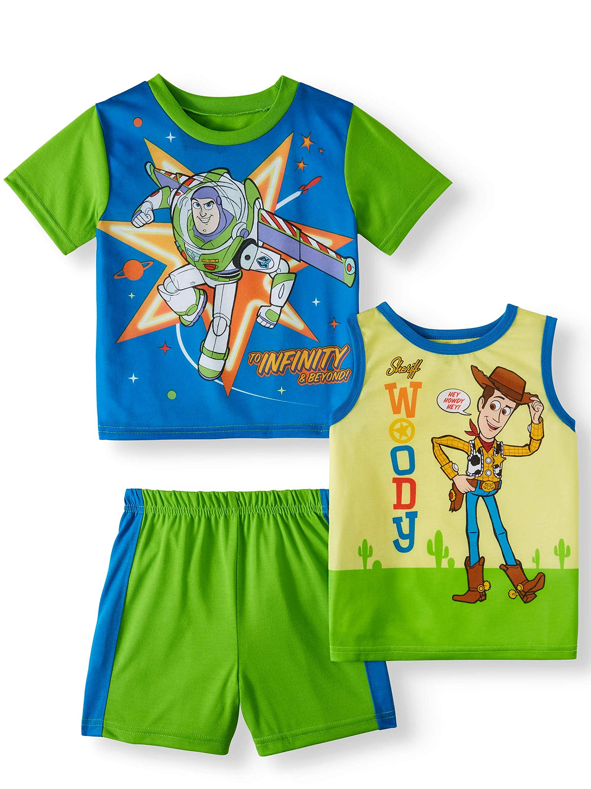 Toy Story 4 Little Boys' Three-Piece Pajama Short Set (5T) Blue/Green