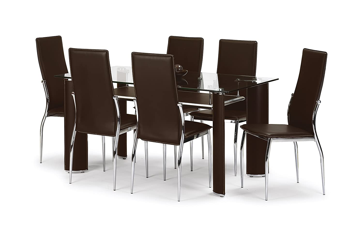 Julian Bowen Boston Dining Table Set With 6 Chairs, Brown: Amazon.co.uk:  Kitchen U0026 Home