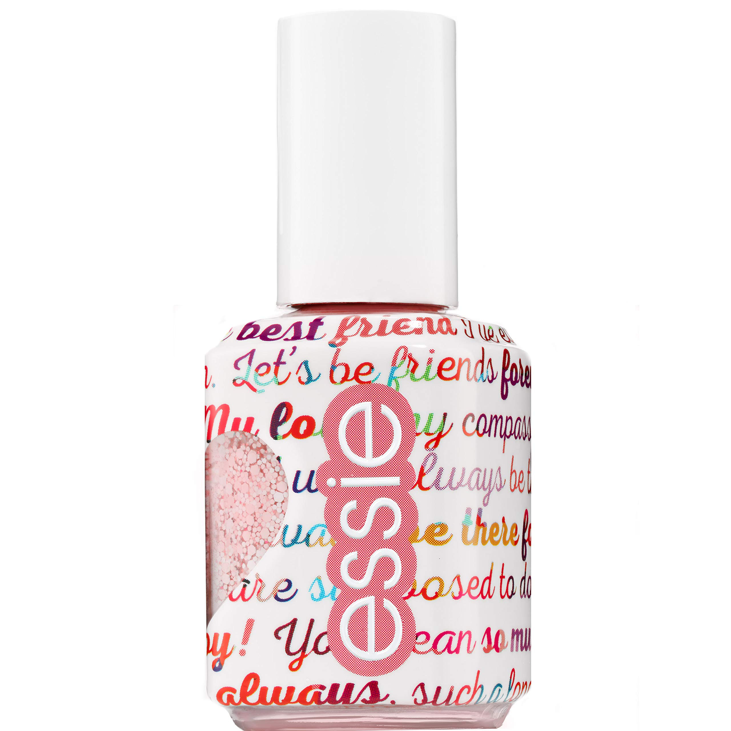 Essie Galentines 2019 Collection Matte Glitter Top Coat Nail Polish, White and Pink