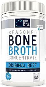 Bone Broth Caldo concentrado de hueso bovino - Rico en Colágeno para mejorar la salud del intestino, la firmeza de la piel y la salud del cabello - Alimentados con hierba, libre de hormonas