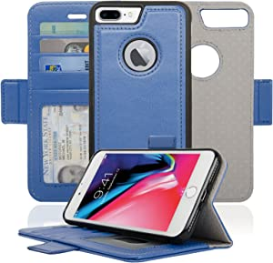 navor Detachable Magnetic Wallet Case RFID Protection, Logo Hole, Compatible for iPhone 8 Plus [Vajio Series]-Hot Blue (IP8PVJHB)