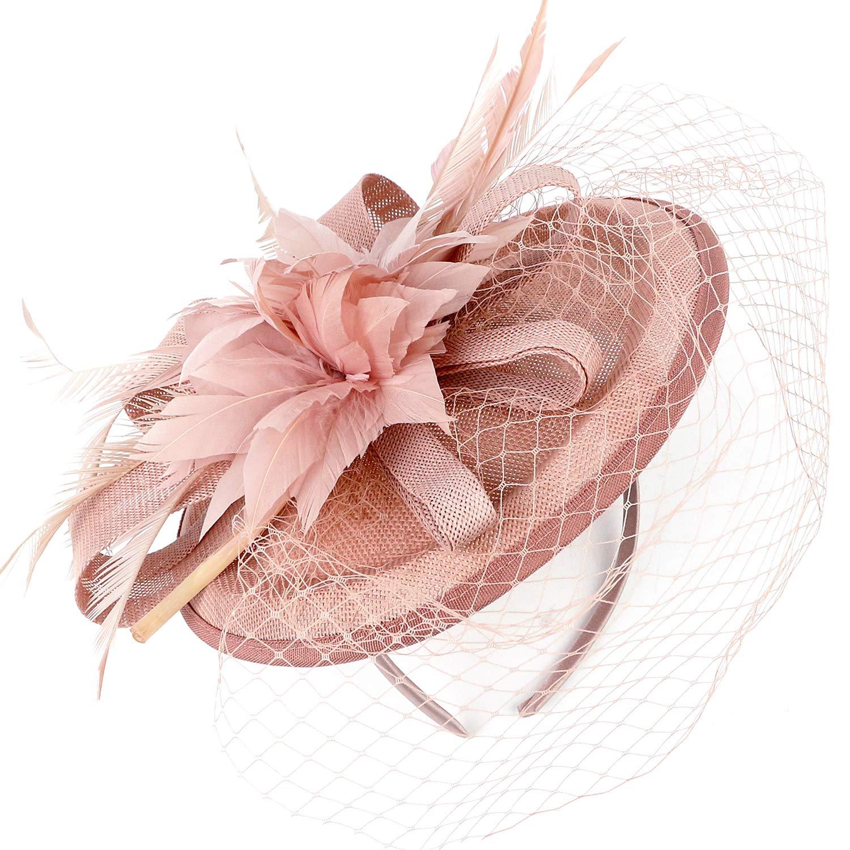 Coucoland Fascinator Pillbox Hat Feather Mesh Net Veil Fascinator Flower Hair Clip Fascinators Hat Bridal Headpiece Wedding Church Derby Hats Race Hats 1920s Flapper Hat