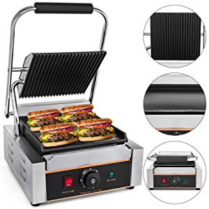 Happybuy Sandwich Press Grill 110V Panini Maker and Grill 1800W Comercial Panini Grill Durable Stainless Steel With Adjustable Temperature Control Coking Non Stick Surface Half Grooved Plates