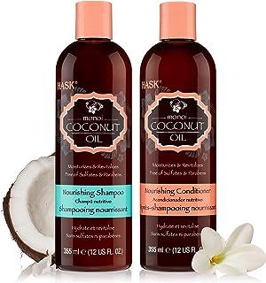 HASK COCONUT MONOI Shampoo and Conditioner Set Nourishing - Color safe, gluten-free, sulfate-free, paraben-free - 1 Shampoo and 1 Conditioner