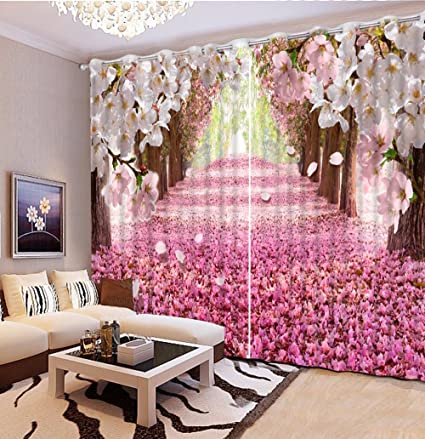 Sproud Cherry Blossoms Decoration Curtains Blackout 3D Curtain Roman ...