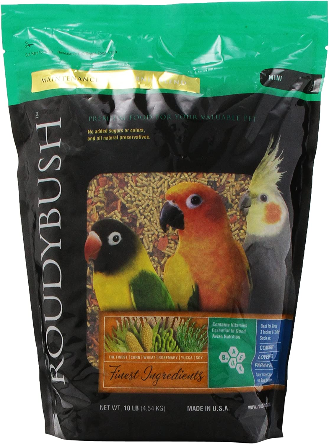 RoudyBush California Blend Bird Food, Mini, 10-Pound