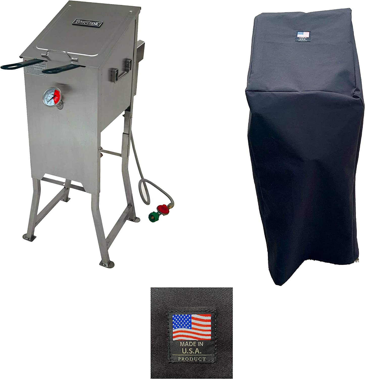 Bayou Classic 700-701 Canvas Cover 5004 Full Length Custom Made For 4 Gallon Deep Fryer Protection From the Elements Made in the USA