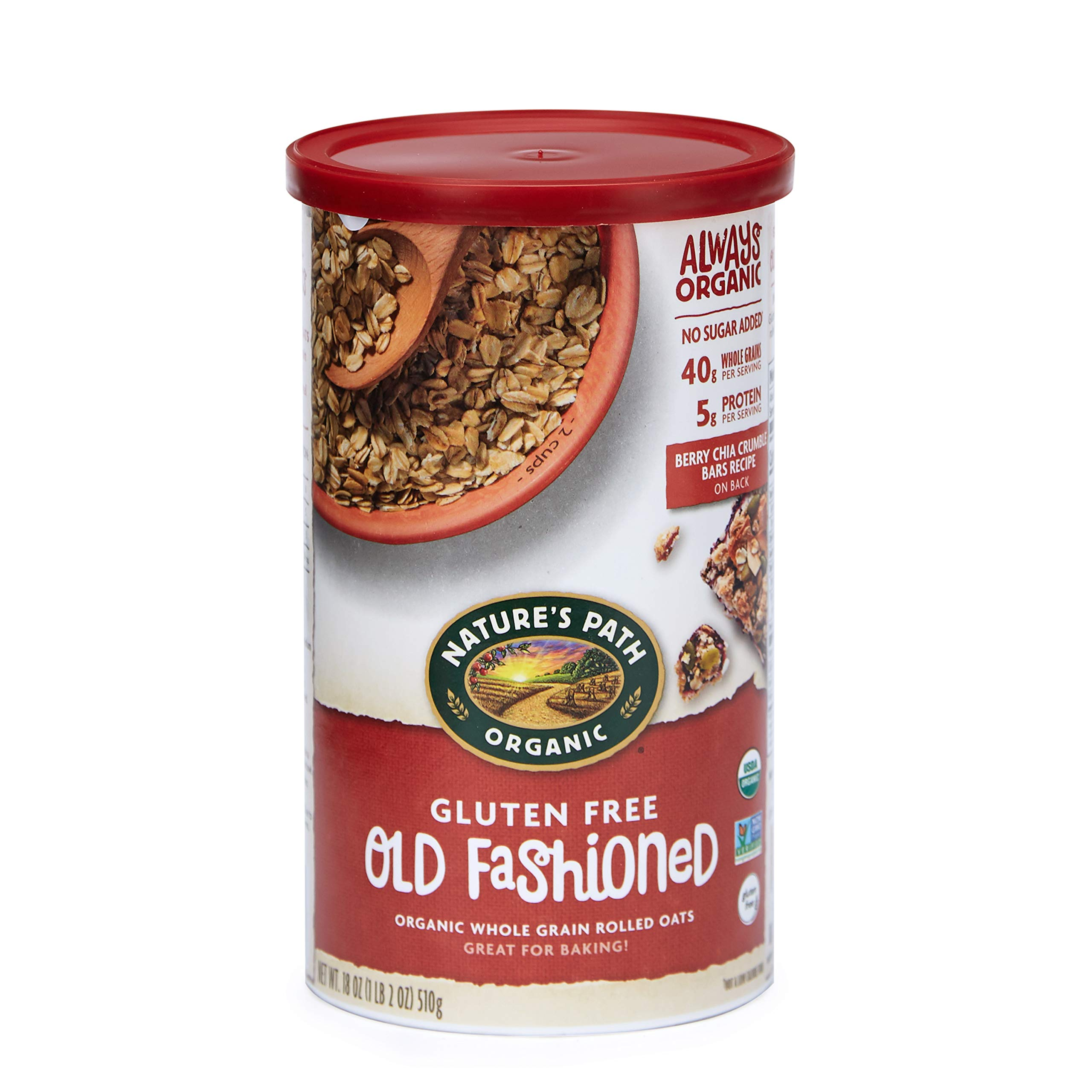 Nature's Path Gluten-Free Whole Rolled Oats, Healthy, Organic & Sugar Free, 1 Canister, 18 Ounces (Pack of 6) by Nature's Path