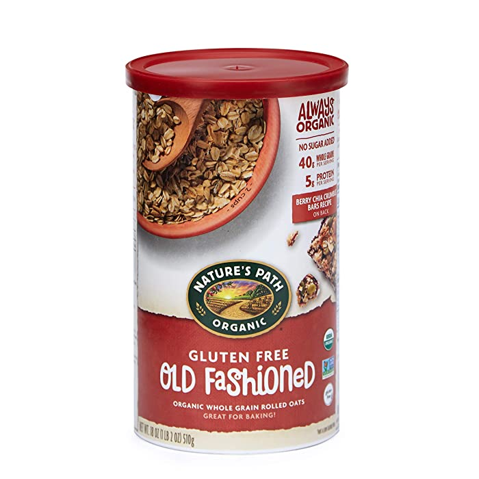 Nature's Path Gluten-Free Whole Rolled Oats, Healthy, Organic & Sugar Free, 1 Canister, 18 Ounces (Pack of 6)