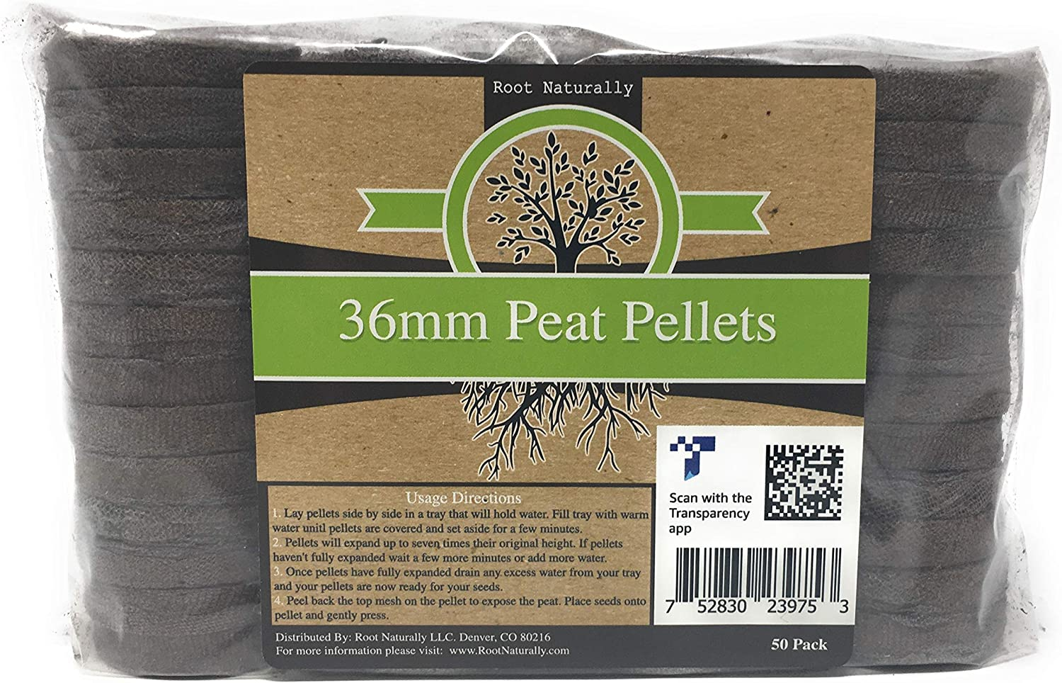 Root Naturally 36mm Peat Pellets - 50 Count
