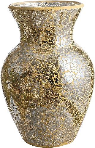 Whole Housewares 10.5 Tall Mosaic Glass Vase Gold