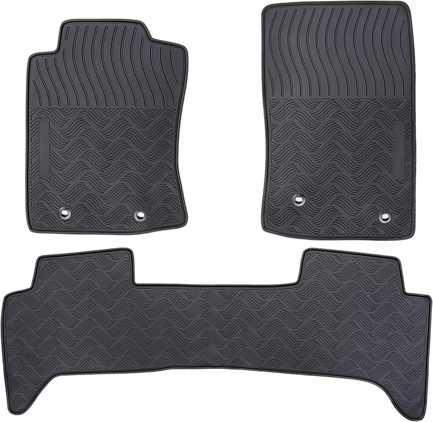 San Auto Car Floor Mats Custom Fit for Toyota Tacoma 2017 2016 Full Black Rubber Auto Floor Liners Set All Weather Protection Heavy Duty Odorless