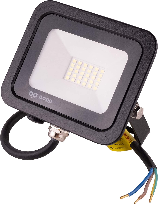 POPP® juegos de 5 y 10 Floodlight Led Foco Proyector Led 10w 20w 30w para Exterior Iluminación Decoración 6000k luz fria Impermeable IP65 Negro y Resistente al agua. (Focos 20 Watios, 1 unidad)