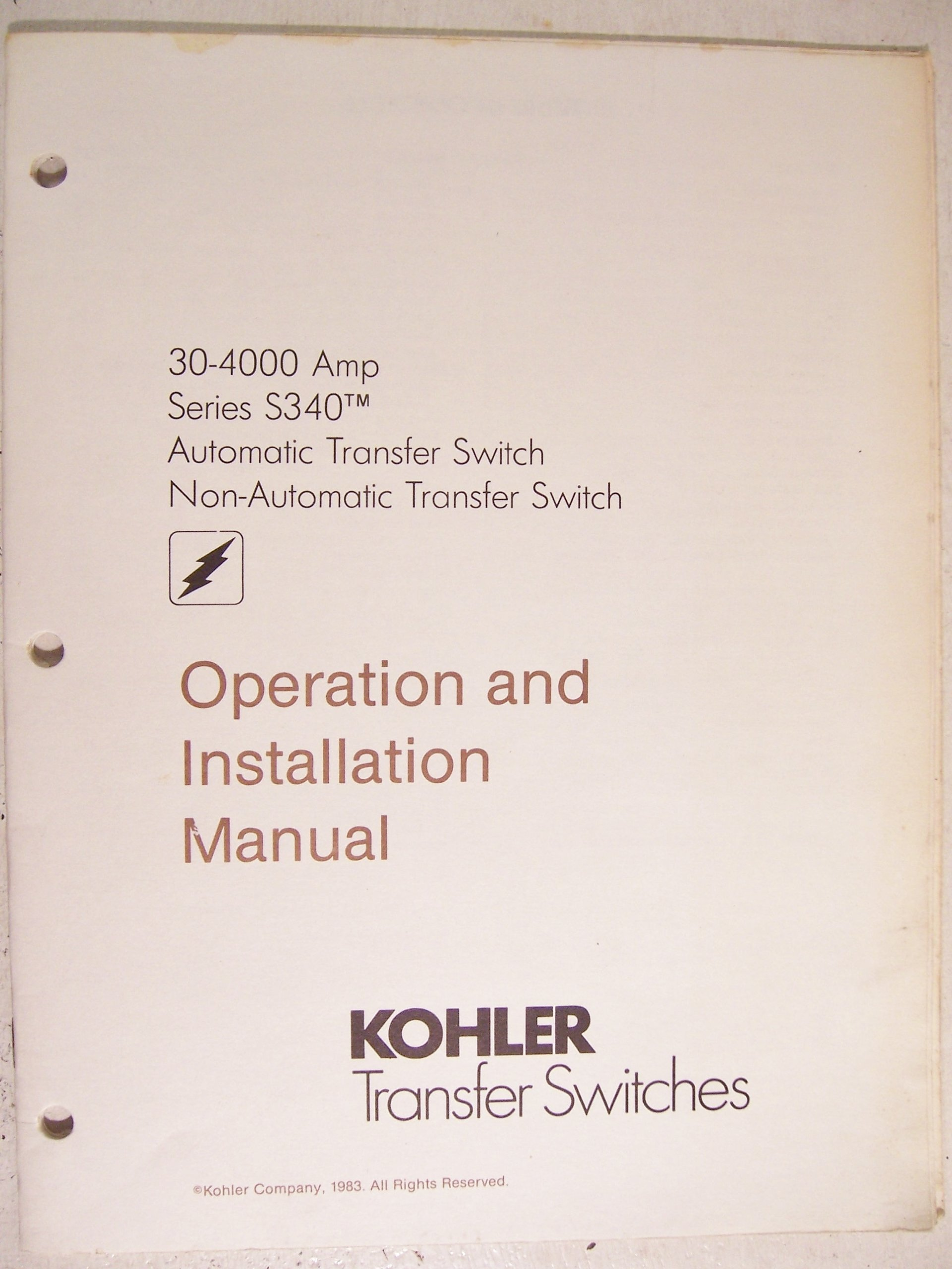 Kohler Transfer Switches Operation And Installation Manual Automatic Switch Wiring Diagram Series Rh Amazon Com
