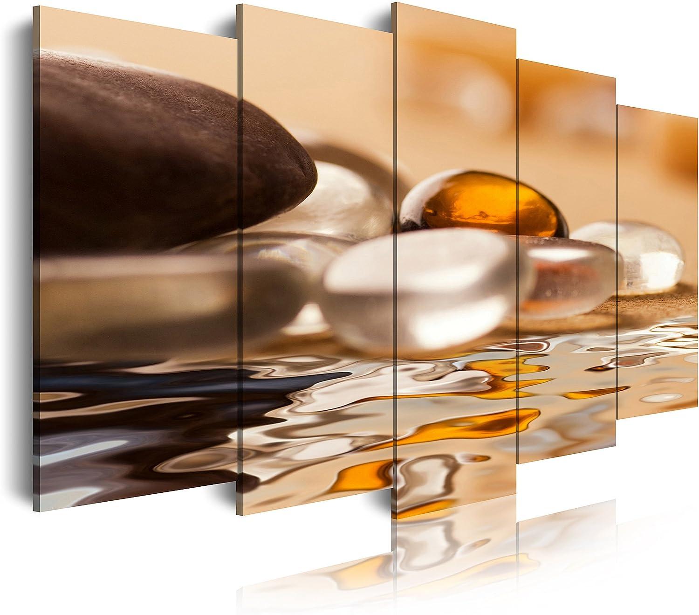 DekoArte - Cuadros Modernos Impresión de Imagen Artística Digitalizada | Lienzo Decorativo Para Tu Salón o Dormitorio |Estilo Zen Piedras y Agua Tonos Blancos, Ocre Marron|5 Piezas 200 x 100 cm XXL