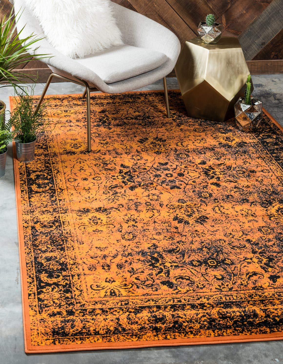 Unique Loom Imperial Collection Modern Traditional Vintage Distressed Terracotta Black Area Rug 4 0 x 6 0