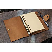 D&M Handmade A6 Personalized refillable 6 Ring Rustic Leather Journal Cover with Pen Holder Unique Leather