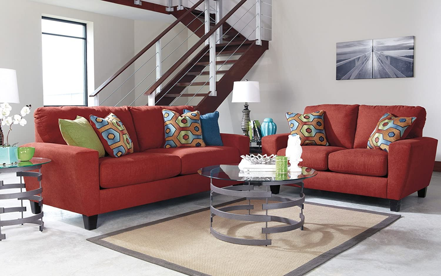 set sofa bonded loveseat ashley leather living by brown room pin antique and
