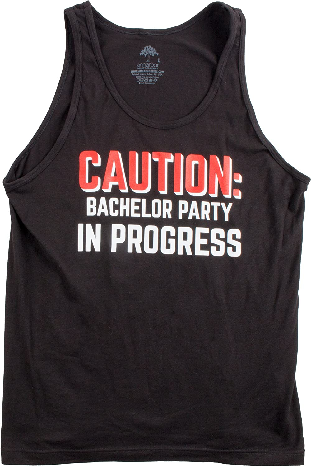 Caution Bachelor Party in Progess Stag Guys Night Out Wedding Unisex Tank Top