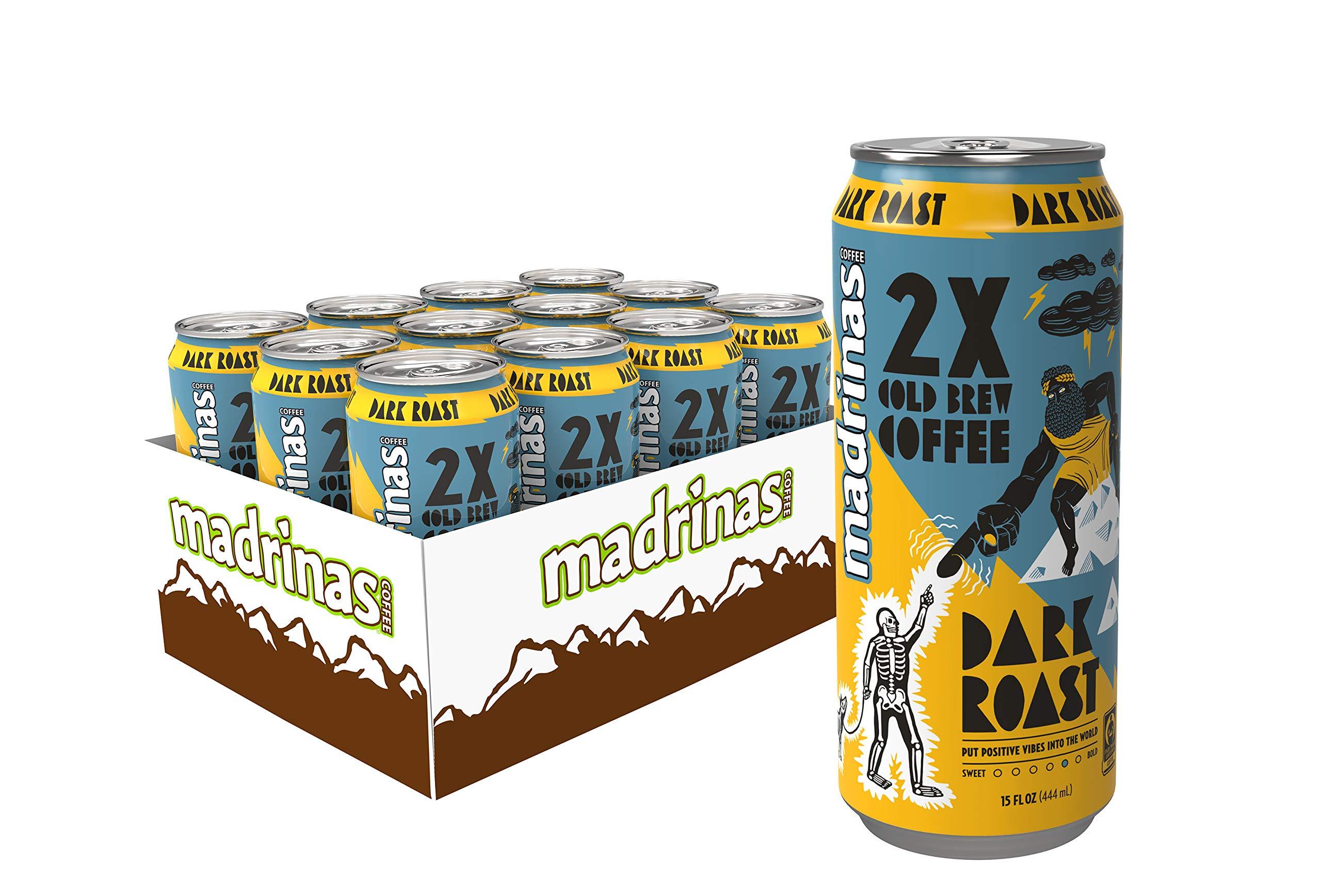 Madrinas Coffee 2X Dark Roast Fair Trade Cold Brew, 15 fl oz (Pack of 12) by Madrinas Coffee