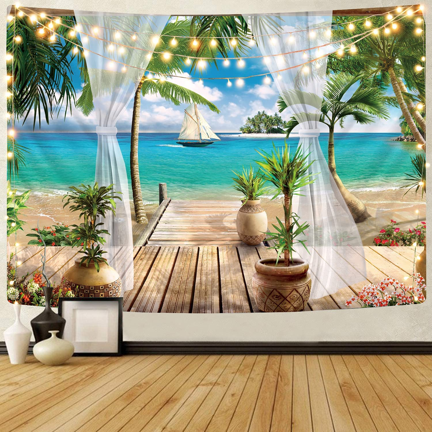 Beach Tapestry Wall Hanging for Bedroom - KYKU Beach Decorations for Home Wall Decor Ocean Tapestry for Bedroom Tropical Coastal Hawaii Nature Living Room Dorm Themed (59.1