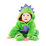 Funstuff Baby Boys' Plush Fleece Dinosaur Costume Coverall with Footies (0-3 Months)