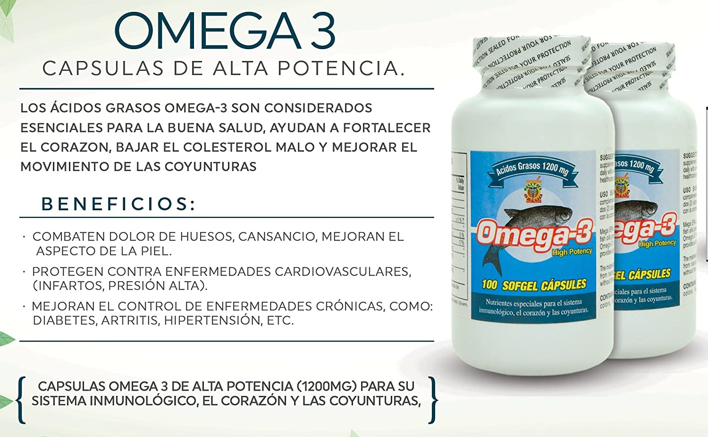 Amazon.com: Omega 3 Capsulas de Alta Potencia. Set de 2 frascos con 100 capsulas c/u. Para las arterias, coyunturas, bajar el colestereol malo.
