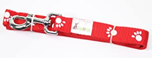 Sweet Pet Home Solid Color Nylon with Dog Paw Print Design 6 ft Long 1 Inch Wide Dog Leash Red Blue Or Black