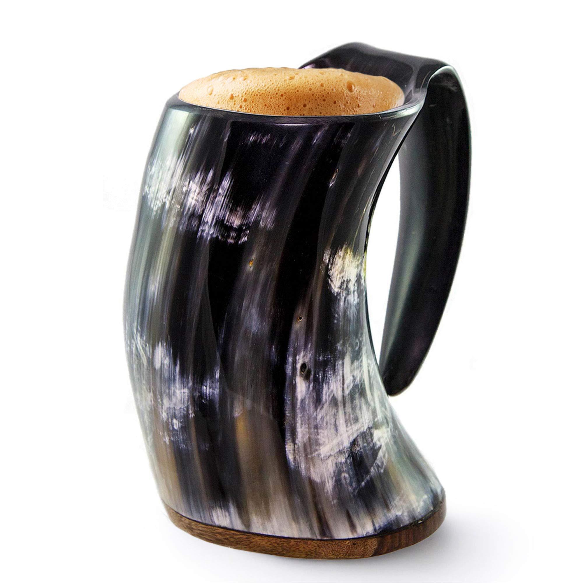 Norse Tradesman Original Viking Drinking Horn Mug - 100% Authentic Beer Horn Tankard w/Rosewood Base & Burlap Gift Sack |''The Original'', Polished, X-Large
