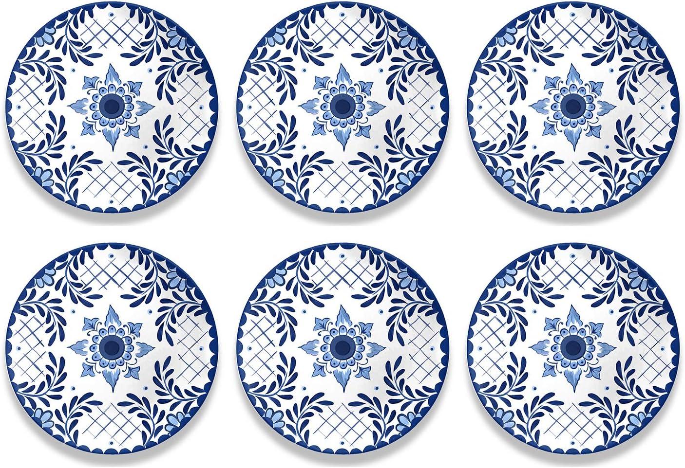 "TRF1105TDPCC - Set of 6 - Cobalt Casita - Melamine Dinner Plate - 10.5"" by TarHong"