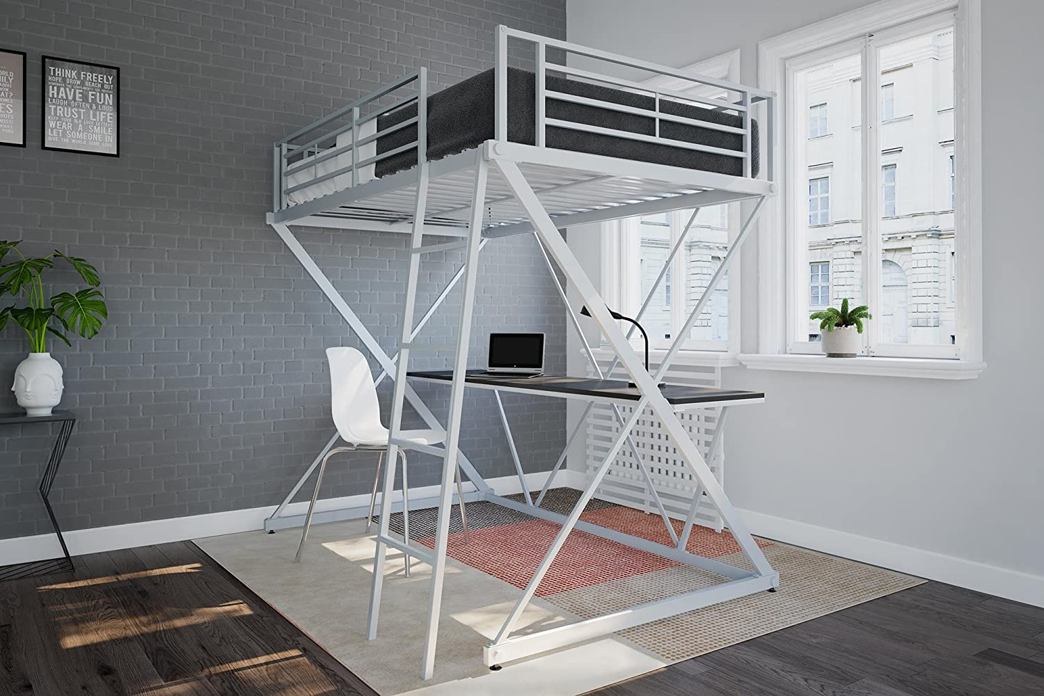 DHP Ciara Metal Bunk Bed Frame with Desk - Silver with Space Saving Design Caira Loft Bed Desk, Twin, Silver