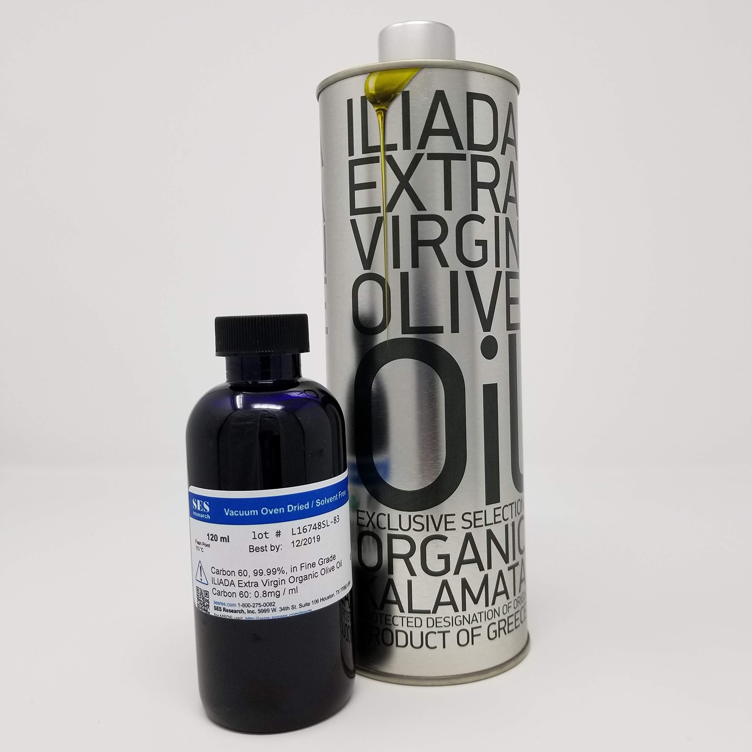 Fine Grade Carbon 60, 99.99% in Organic Olive Oil Extra Virgin - 120 ml by SES Research Inc. (Image #2)