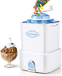 Nostalgia CICM2WB Electric Ice Cream Maker with Candy Crusher, 2-Quart, White/Blue