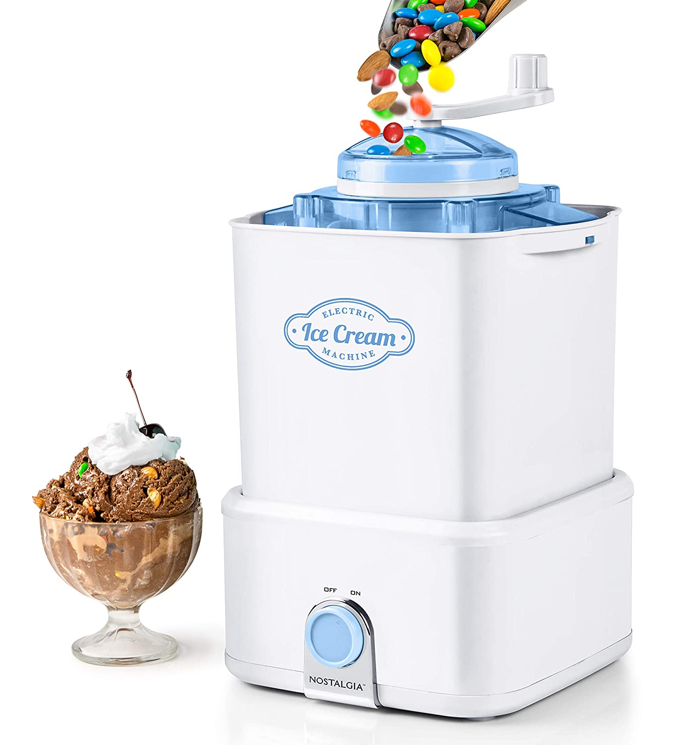Nostalgia CICM2WB Electric Ice Cream Maker with Candy Crusher, 2-Quart White/Blue