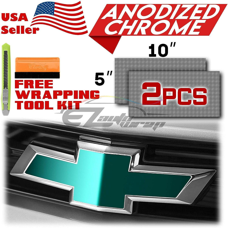 EZAUTOWRAP Free Tool Kit 2Pcs 5x10 Chevy Emblem Bowtie Orange Anodized Chrome Vinyl Wrap Sticker Decal Film Overlay Sheet