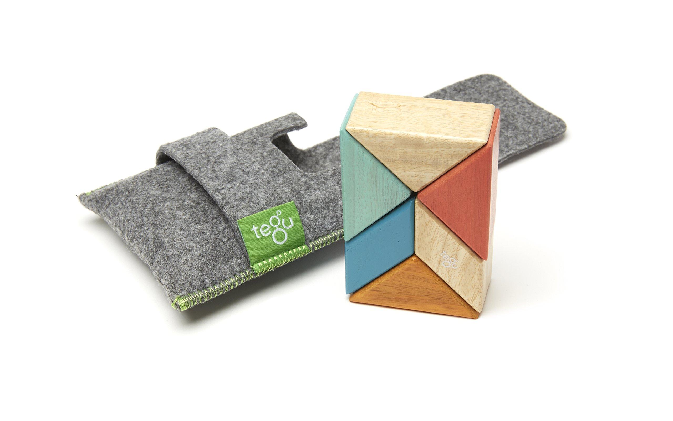 Tegu 6 Piece Pocket Pouch Prism Magnetic Wooden Block Set, Sunset