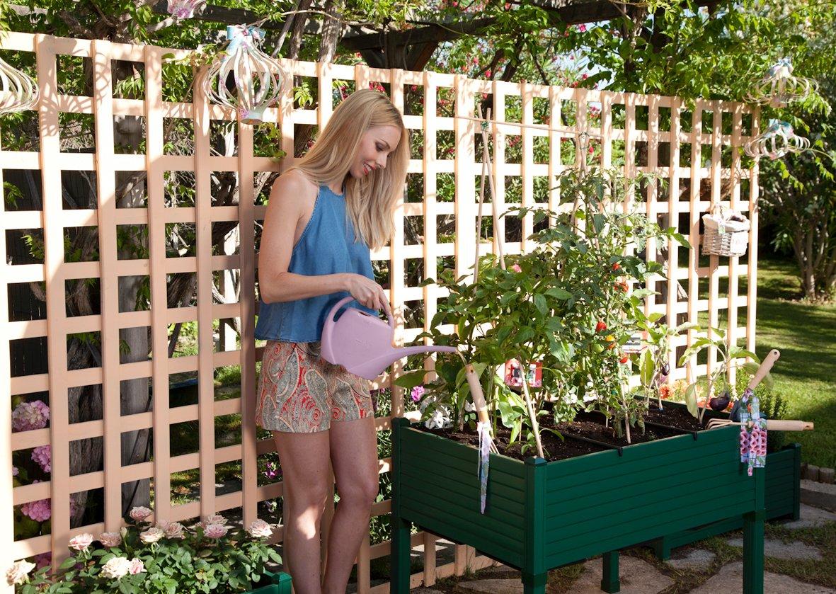 Hochbeet für Terrassen / Garten. 90x60x75 cm. Farbe: grün