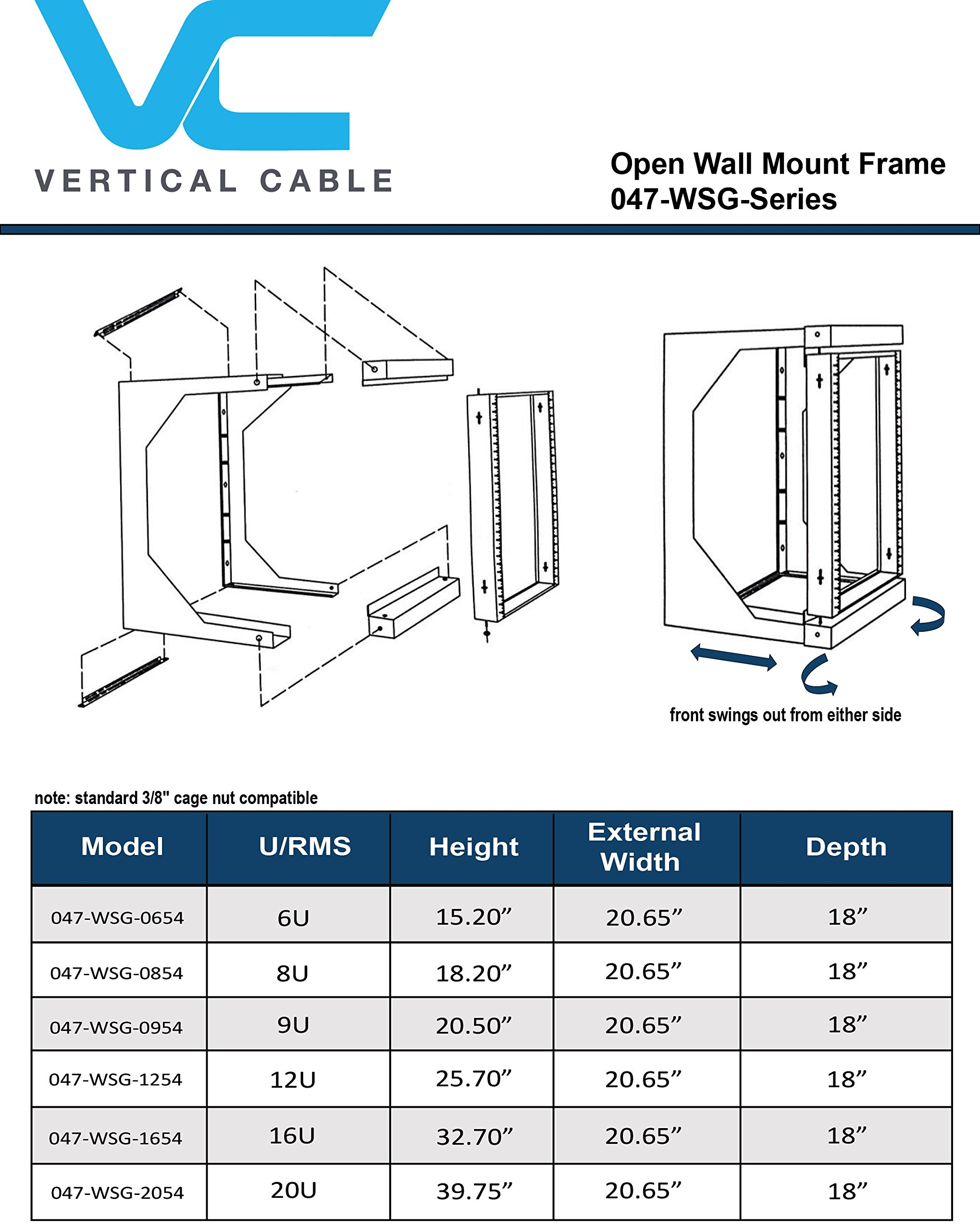 12U Open Wall Mount Frame Rack - 18'' Depth - Swing Out Door by Vertical Cable (Image #1)