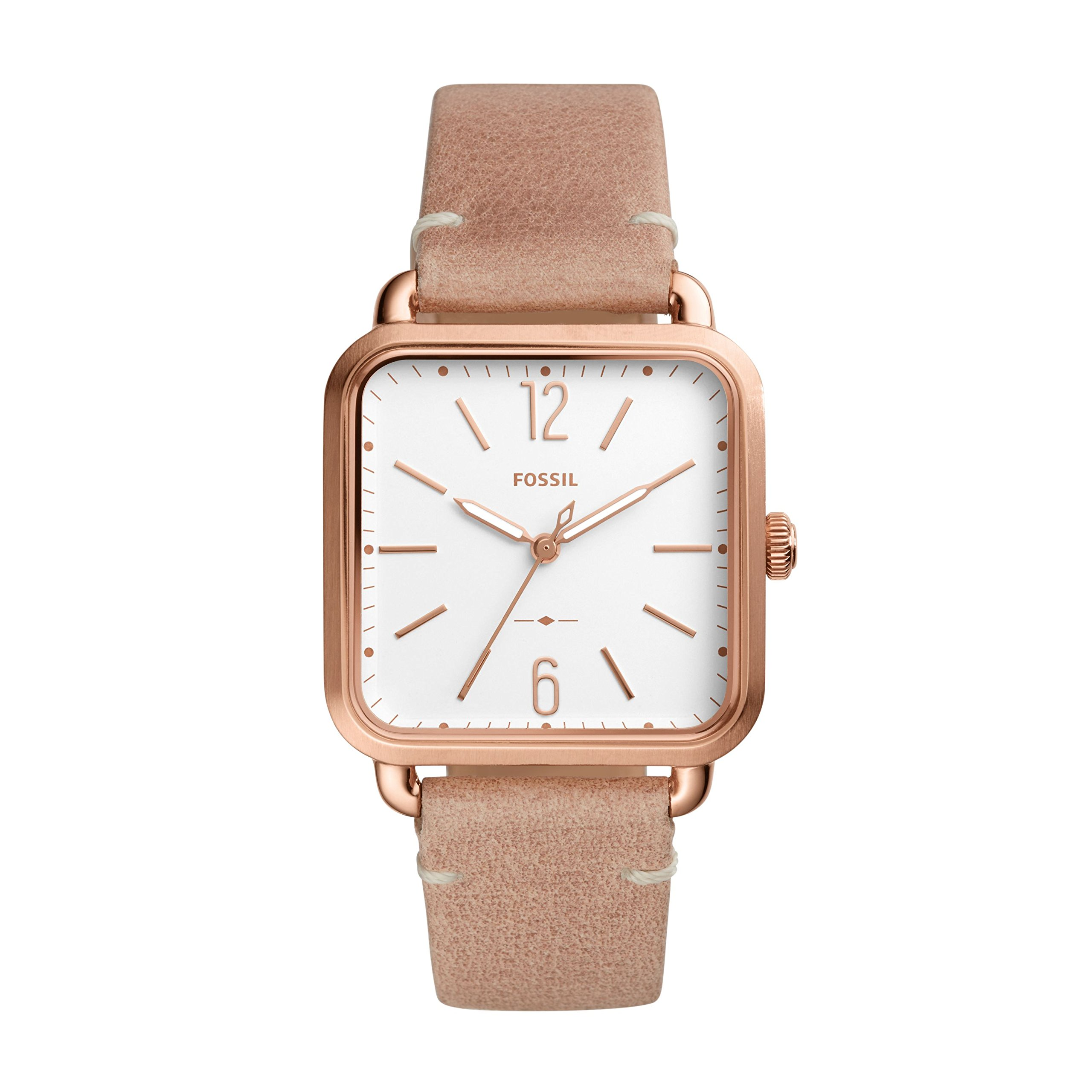 Fossil Women's 'Micah' Quartz Stainless Steel and Leather Casual Watch, Color:Beige (Model: ES4254)