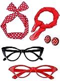 Accessoires pour Femmes des Années 50 Boucles d'Oreilles Bandeau Écharpe Fille Lunettes Oeil de Chat pour la Fête