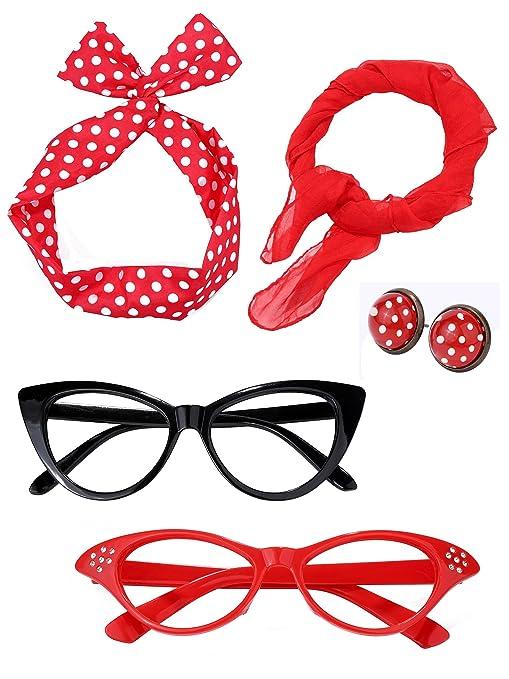 Satinior Juego de Accesorios de Disfraz de Mujer de los Años 50 Bufanda  Diadema Pendientes Gafas de Ojo de Gato para Fiesta (Conjunto de Colores  2)  ... 2bfead02ecb