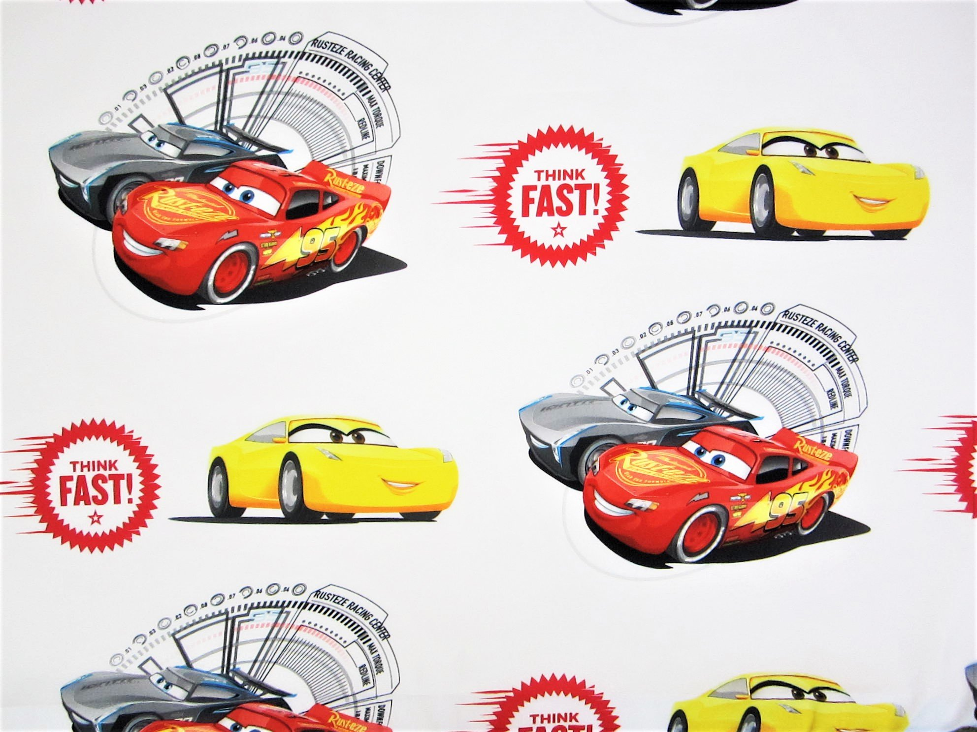 Cars Think Fast 100% Polyester (Flat Sheet ONLY) Size Twin Boys Girls Kids Bedding