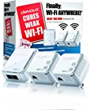 devolo dLAN 500 Wi-Fi Powerline Network Kit (500 Mbps, 3 x PLC Homeplug Adapter, 1 x LAN Port, WiFi Signal Booster, Wireless Range Extender, Wi-Fi Move, whole home wifi, Power Save) - White